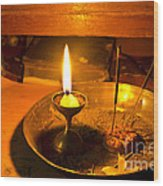 Candle And Incense Sticks Wood Print