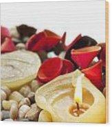 Candle And Petals Wood Print