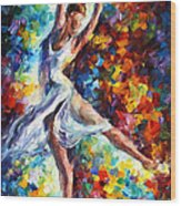 Candle Fire - Palette Knife Oil Painting On Canvas By Leonid Afremov Wood Print