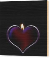 Candle Heart Wood Print