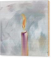 Candle In The Morning Wood Print