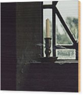 Candle In The Window Wood Print