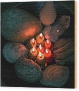 Candle Meet Wood Print