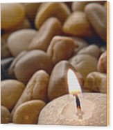 Candle On The Rocks Wood Print