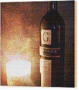 Candle Wine Wood Print