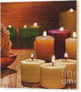 Candles Burning In A Spa  Wood Print