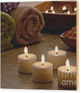 Candles In A Spa Wood Print