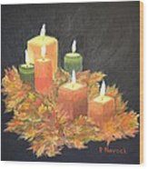 Candles In Autumn Wood Print