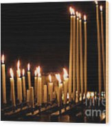 Candles In Church Wood Print