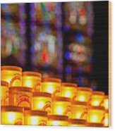 Candles In Notre Dame Wood Print