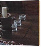 Candles In The Morning Wood Print