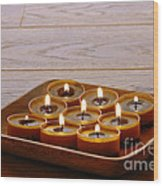 Candles In Wood Tray Wood Print