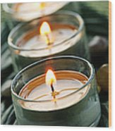 Candles On Green Wood Print