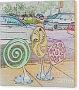Candy Bike Rack In Colored Pencil Wood Print