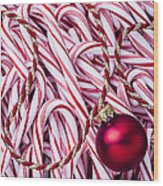 Candy Cane And Red Ornament Wood Print
