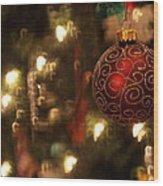 Candy Cane Bokeh Wood Print