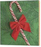 Candy Cane Wood Print by Colette Scharf