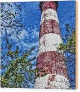 Candy Cane Lighthouse Wood Print