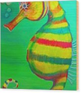 Candy Cane Seahorse Wood Print