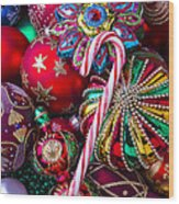 Candy Canes And Colorful Ornaments Wood Print