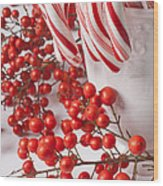 Candy Canes And Red Berries Wood Print