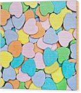 Candy Hearts Wood Print