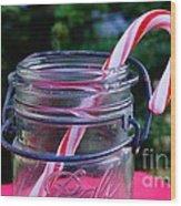 Candycane In Ball Jar Wood Print