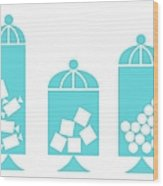 Canisters In Turquoise Wood Print