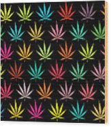 Cannabis Leaf Multi-coloured Pattern Wood Print