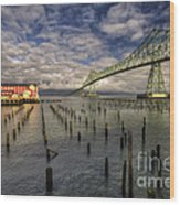 Cannery Pier Hotel And Astoria Bridge Wood Print