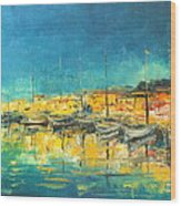 Cannes By Night Wood Print