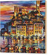 Cannes-france - Palette Knlfe Oil Painting On Canvas By Leonid Afremov Wood Print