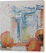 Canning Peaches Wood Print by Sandra Strohschein