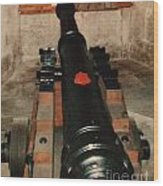 Cannon At Pendennis Castle Wood Print