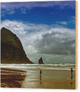Cannon Beach At Dusk II Wood Print