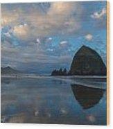 Cannon Beach Calm Morning Tidal Flats Wood Print