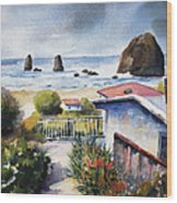 Cannon Beach Cottage Wood Print