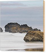 Cannon Beach Early Morning Mist Wood Print