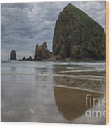 Cannon Beach Haystack Reflection Wood Print