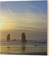 Cannon Beach Sunset Wood Print by DerekTXFactor Creative