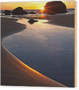 Cannon Beach Sunset Vertical Wood Print