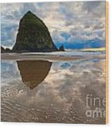 Cannon Beach With Storm Clouds In Oregon Coast Wood Print