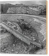Cannon Remains From Ww2 Bw Wood Print