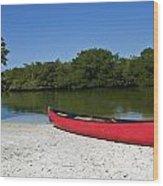 Canoe And Beach Wood Print
