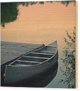 Canoe At A Dock At Sunset Wood Print by Jill Battaglia