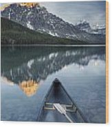 Canoe At Lower Waterfowl Lake With Wood Print