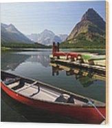 Canoe At St Mary Lake In Glacier Wood Print