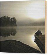 Canoe At Sunrise Wood Print