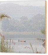 Canoe Commute Wood Print