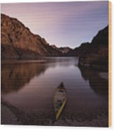 Canoe In Lake Near Shore, Arizona Wood Print